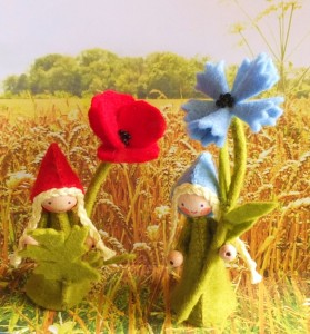 Twee bloemenkinderen klaproos en korenbloem