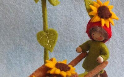 Kabouter met kruiwagen en zonnebloemen