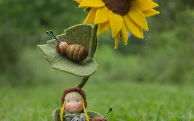 Zonnebloem met bijtjes