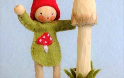 Kabouter met paddenstoel