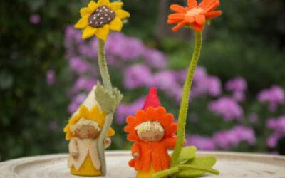 Zonnebloem- en goudsbloemkabouter